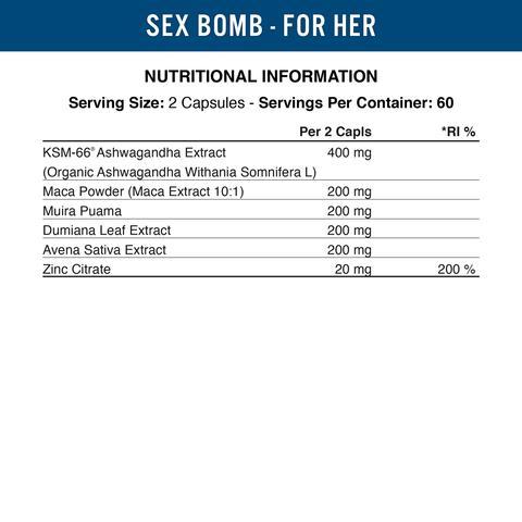 Sex Bomb Female Libido Enhancer - 120 capsules