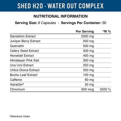 SHED H2O DIURETIC - 180 V CAPS